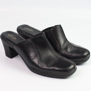 "Clarks Bendables black leather mule 3"" block heel"